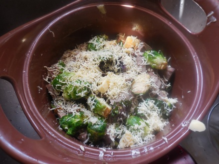 Sprouts and Tongue all Covered in Cheese